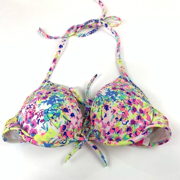 Victoria's Secret Other - Victorias Secret Bikini Top 34A Halter Floral Blue